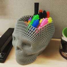 Wireframe Skull Pencil Holder