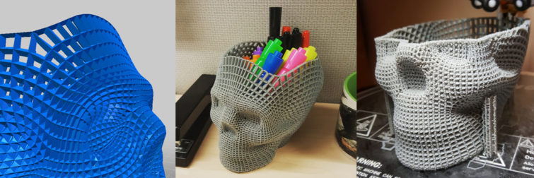 3d printed skull pencil case