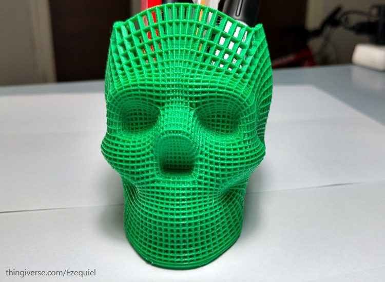 3d printed skull pencil holder