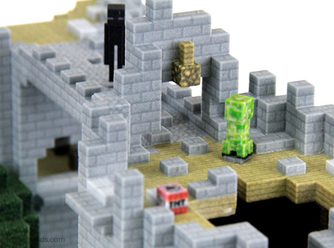 minecraft 3d printed close up