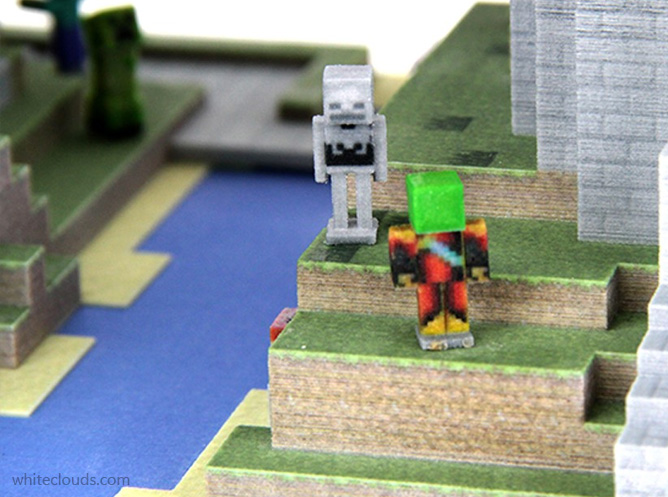 minecraft printed model closeup